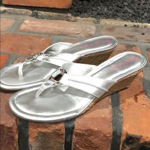 Lilly Pulitzer Silver Wedge mc kim sandal size 7